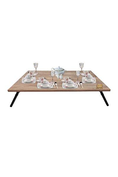Katlanır Yer Sofrası Hamur Açma Sunum Masası 60x90 Cm Ceviz Desen