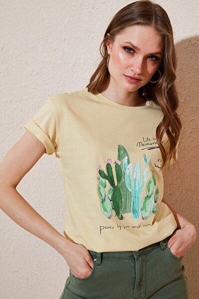 Kadın Sarı  Baskılı Bisiklet Yaka  Pamuk T Shirt 6001010