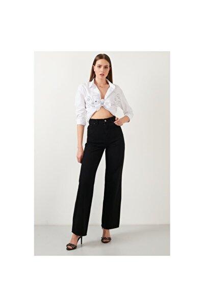 Emmy Kadın Siyah Geniş Paça Yüksek Bel Jean - Bol Paça Kot Pantolon