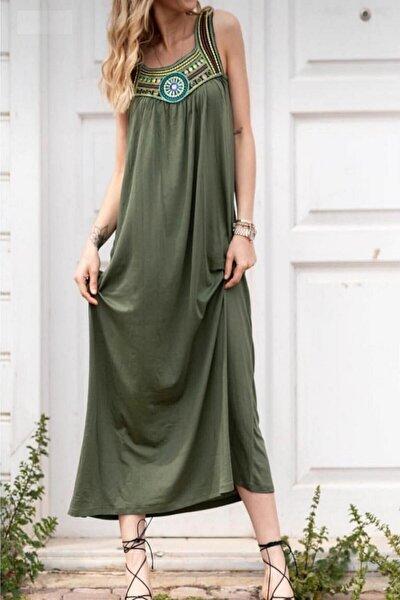 Kadın Haki Nakış Detay Salaş Uzun Viskon Kumaş Dokuma Elbise