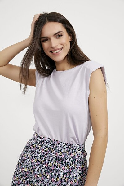 Kadın Lila Vatkalı Kolsuz  T-Shirt
