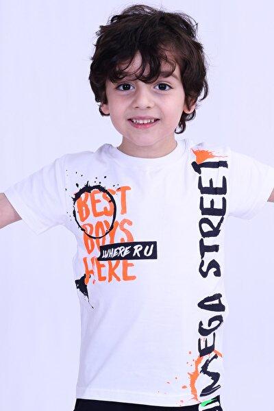 Erkek Çocuk Beyaz Sırt Baskılı T Shirt