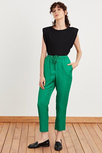 Kadın Yeşil Beli Bağcıklı Pantolon 153L7174001