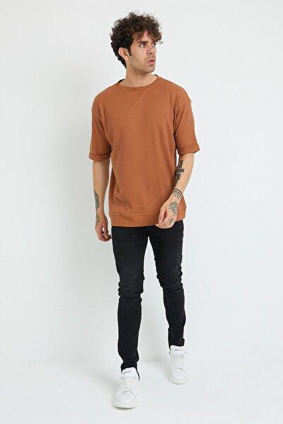 Erkek Bej Petek Örgü Waffle Kumaş Oversize T-shirt 1yxe1-44876-25