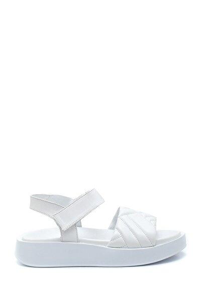 Kadın Beyaz Deri Bantlı Sandalet
