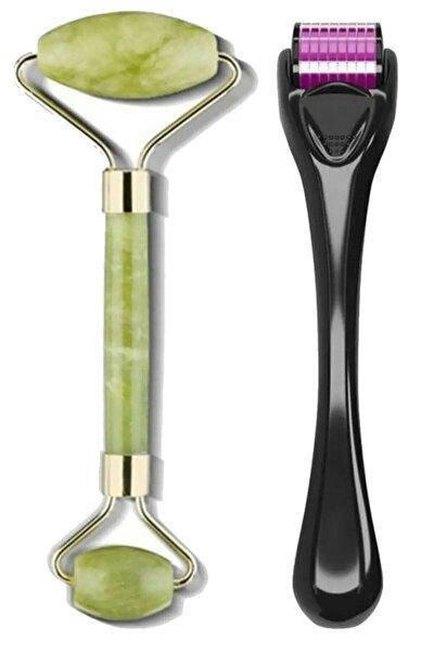 Dermaroller 1 mm 540 Iğneli Cilt Yenileme Aleti + Jade Roller 2'li Yeşim Taşı Masaj Aleti