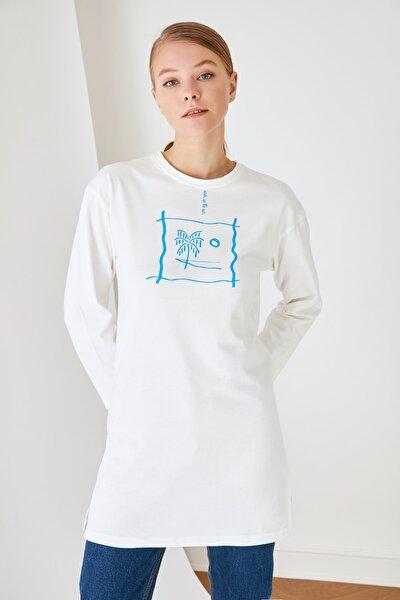 Beyaz Baskılı Tunik T-shirt TCTSS21TN0217