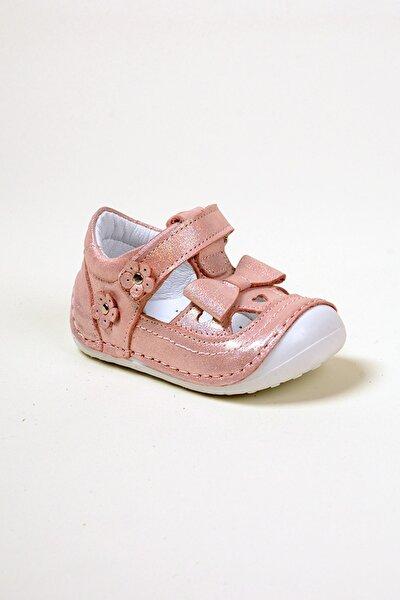 Kız Bebek Pembe Kurdela Çiçek Tek Baret Hakiki Deri Ortopedik İlk Adım Ayakkabı
