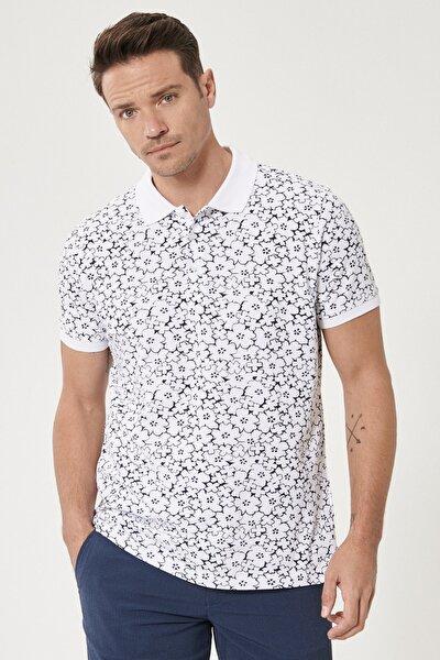 Erkek Beyaz-Lacivert Polo Yaka Cepsiz Slim Fit Dar Kesim %100 Koton Desenli Tişört