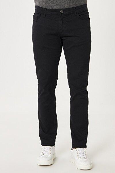 Erkek Siyah Kanvas Slim Fit Dar Kesim 5 Cep Pantolon
