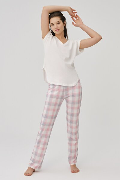Kadın Ekru Pamuklu V Yaka Pijama Takımı