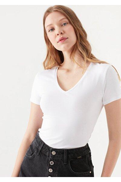Lux Touch V Yaka Beyaz Modal Tişört 1600964-620