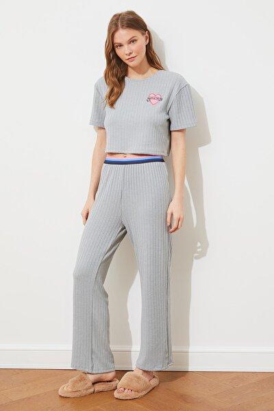 Mint Kaşkorse Örme Pijama Takımı THMSS21PT1014