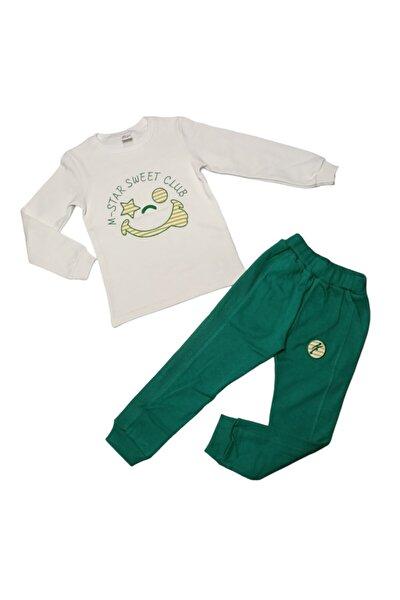 Unisex Çocuk Krem Yeşil Gülen Yüz Desenli Çocuk Takımı