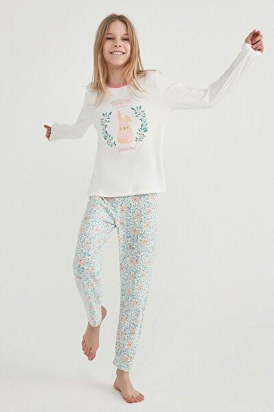 Beyaz - Pembe Teen Dreamland Termal 2li Pijama Takımı
