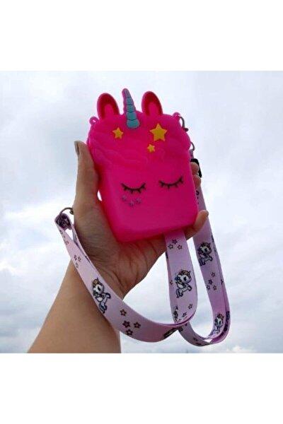 Kız Çocuk Pembe Silikon Unicorn Tasarım Omuz Çanta
