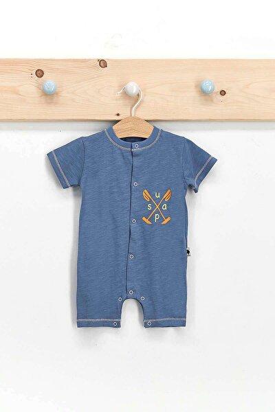 U.s. Polo Assn Lisanslı Açık Indigo Erkek Bebek Kısa Kol Tulum