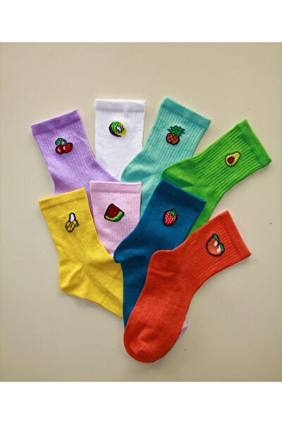 Kadın Renkli Meyveli 8 Çift Kolej Çorap