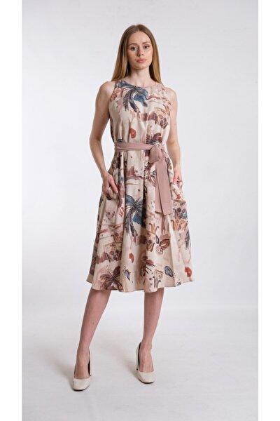 Kahverengi A Form Desenli Beli Kuşaklı Keten Kumaş Elbise Je545317