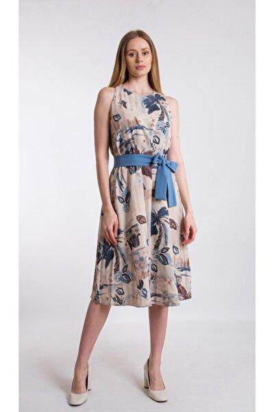 Mavi A Form Desenli Beli Kuşaklı Keten Kumaş Elbise Je545317