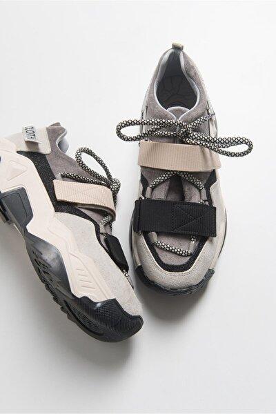 Kadın Siyah Vizon Bantlı Spor Ayakkabı 65140