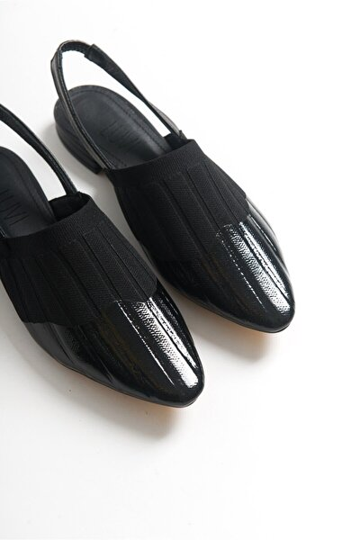 Kadın Siyah Triko Deri Garnili Sandalet 30955