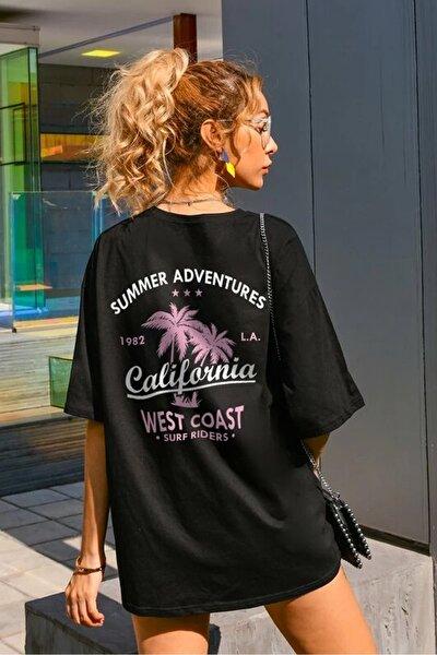 Kadın Siyah Oversize California Baskılı T-shirt