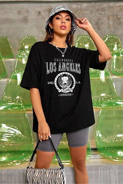 Kadın Siyah Oversize Los Angeles Baskılı T-shirt
