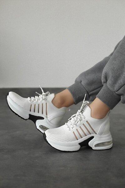 Kadın Beyaz Triko Gizli Topuk Tabanlı Sneaker