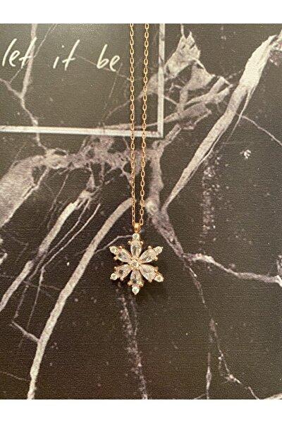 Kadın Lotus Çiçeği Damla Zirkon Taşlı Gümüş Kolye