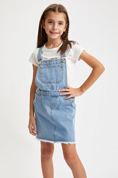 Kız Çocuk Askılı Jean Elbise