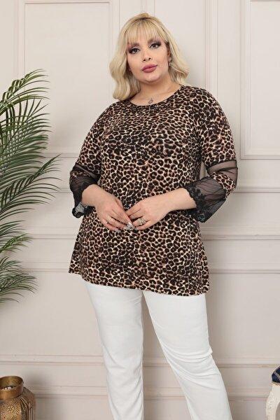 Kadın Kahverengi Büyük Beden Leopar Desen Kolları Tül Detay Lı Viskon Bluz