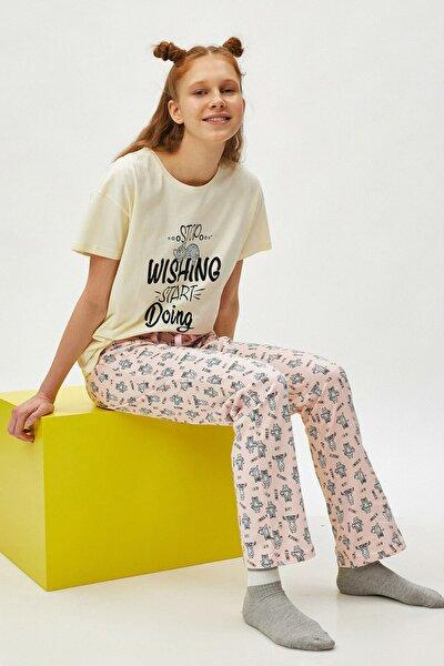 Kadın Pembe %100 Pamuk Baskılı Pijama Takımı
