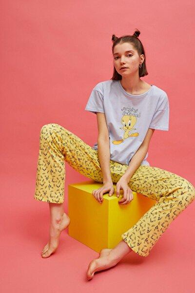 Kadın Tweety Baskılı Sarı Pijama Takımı 1YLK79341MK