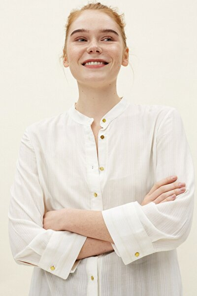 Kadın Sarı Hakim Yaka Gömlek