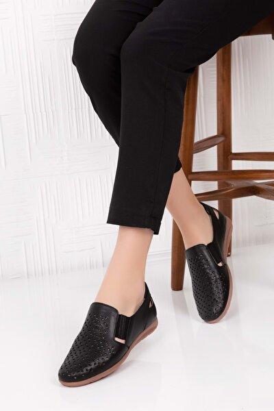 Hakiki Deri Ortopedik Taban Günlük Ayakkabı Siyah 36 Esfa.152y
