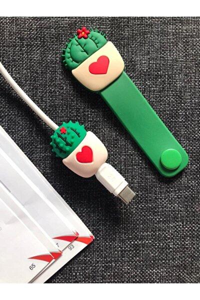 Sevimli Kablo Toparlayıcı Ve Koruyucu Kaktüs 2'li Set
