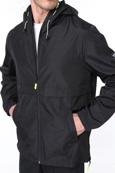 Erkek Siyah Rüzgarlık/Yağmurluk Outdoor Yırtmaç Detaylı Mevsimlik Spor Ceket