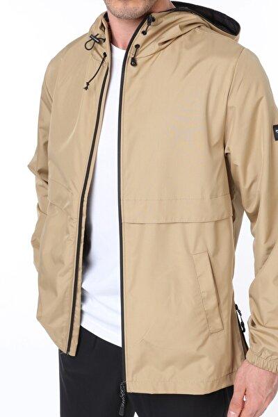 Erkek Bej Rüzgarlık/Yağmurluk Outdoor Yırtmaç Detaylı Mevsimlik Spor Ceket