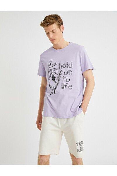 Erkek Mor Bisiklet Yaka Pamuklu  T-Shirt