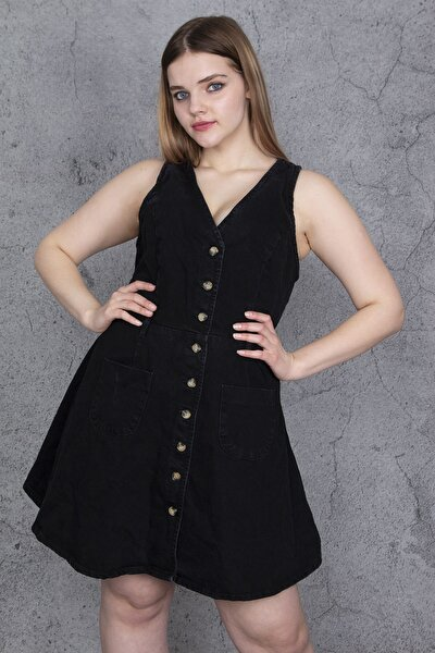 Kadın Siyah Ön Düğmeli Cep Detaylı Kot Elbise 65N24055