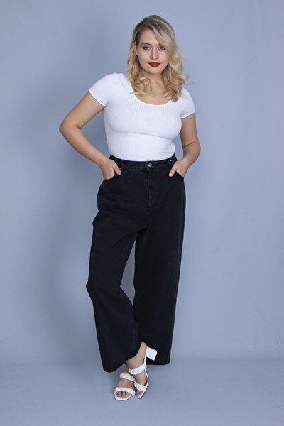 Kadın Siyah Rahat Kesim 5 Cepli Kot Pantolon 65N23995
