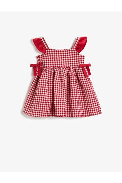 Kız Çocuk Kırmızı Kareli Pamuklu Fiyonklu Elbise