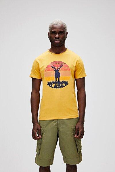 Erkek Sarı T Shirt Alaska Deer Tee 21 01 07 001