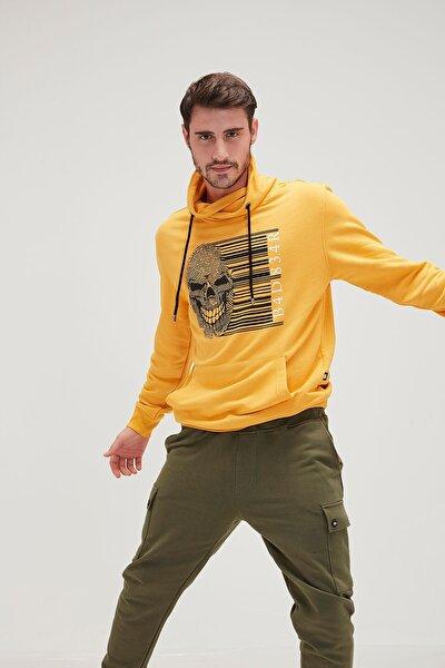 Erkek Sarı Fingerprint Shawlneck Sweatshirt