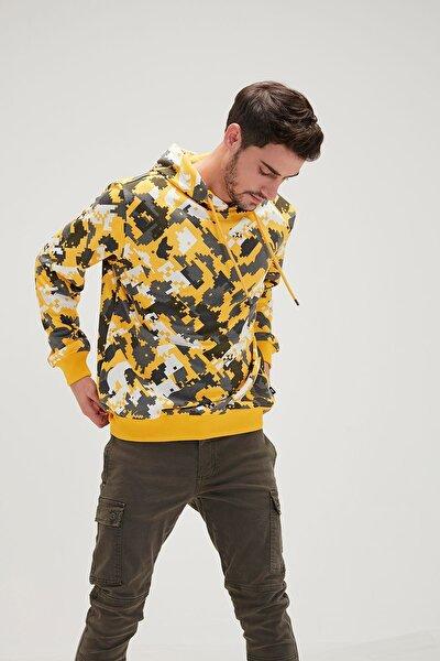 Erkek Yellow Dıgı Camo Hoodıe Sweatshirt