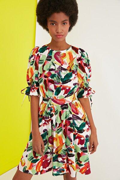 Çok Renkli Desenli Elbise TWOSS21EL1989