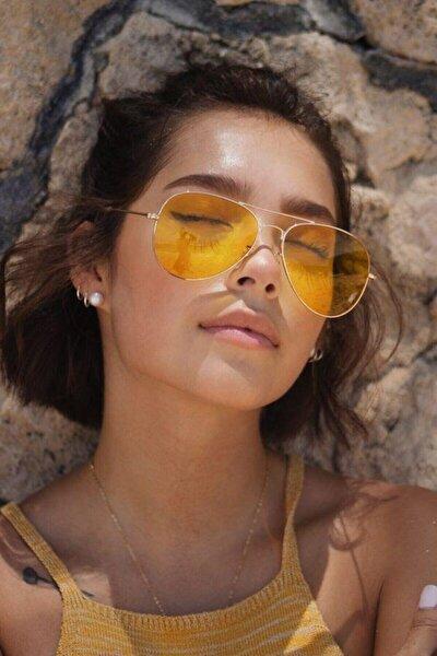 Gold Metal Çerçeveli Sarı Damla Unisex Güneş Gözlüğü