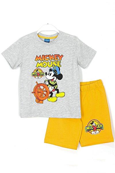 Mickey Mause Baskılı Erkek Çocuk Şortlu Takım 2 - 7 Yaş Aralığı Gri Sarı