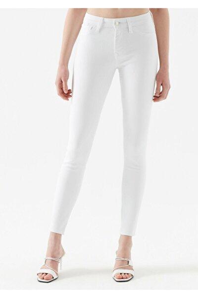 Kadın  Beyaz Jean Pantolon Uzun Boy